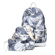 VIVA - Set of 3: Feather Print Backpack + Crossbody Bag + Pouch