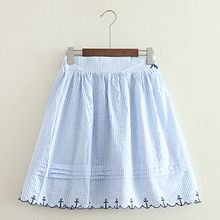 ninna nanna - Embroidered Striped A-Line Skirt