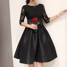 lilygirl - Tie Waist Lace Panel Dress