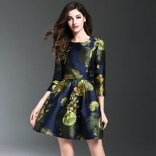 Y:Q - 3/4-Sleeve Printed A-Line Dress