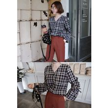 Miamasvin - Drawstring-Cuff Plaid Blouse