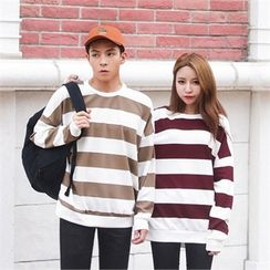 Superstar.i - Couple Round-Neck Color-Block Pullover