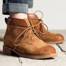 MIAOLV - Low Heel Lace Up Ankle Boots