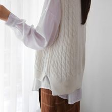JUSTONE - Sleeveless Dip-Back Cable-Knit Top