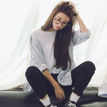 Racoon - Long-Sleeve Oversized Stripe Shirt