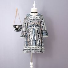 Kidora - Kids Tassel Tie Front Patterned Long Sleeve Dress