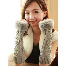 Azuki - Faux Fur Trim Cable Knit Gloves