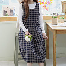 Sechuna - Sleeveless Tie-Back Plaid Dress