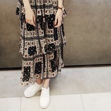 mimi&didi - Patterned Long Tiered Skirt