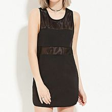 Richcoco - Mesh Trim Sleeveless Mini Dress
