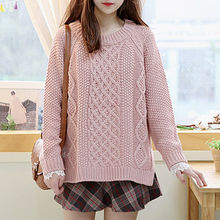 Sechuna - Raglan-Sleeve Dip-Back Cable Knit Sweater