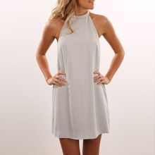 Dream a Dream - Sleeveless Halter A-Line Dress