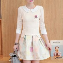 Ekim - Mock Two-piece 3/4-Sleeve Collared Chiffon Dress