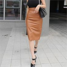 LIPHOP - Chiffon Trim-Back Faux-Leather Pencil Skirt