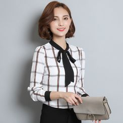 lilygirl - Tie Neck Plaid Chiffon Shirt