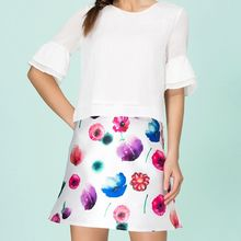 Strawberry Flower - Floral Print A-Line Skirt