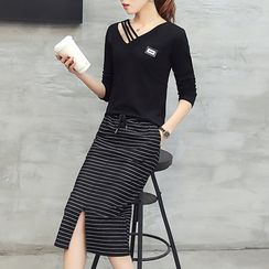 Ekim - Set: Long-Sleeve Cut Out T-Shirt + Striped Midi Skirt