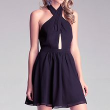 Richcoco - Halter Chiffon Mini Dress