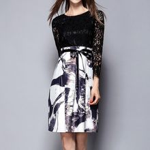 Merald - Lace Panel Ink Print Dress