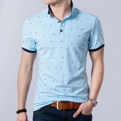 Harvin - Patterned Short-Sleeve Polo Top