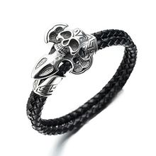 Trend Cool - Skull Genuine Leather Woven Bracelet