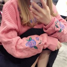 YUKISHU - Flower Embroidered Cable Knit Sweater