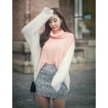 GUMZZI - Cowl-Neck Color-Block Sweater