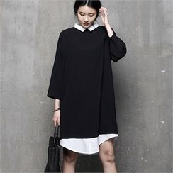 HALUMAYBE - Inset Shirt Shift Dress