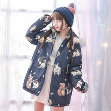Moriville - Rabbit Print Hooded Padded Jacket
