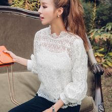 Dowisi - 3/4-Sleeve Frilled Lace Top with Camisole