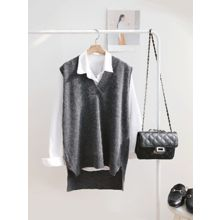 hellopeco - V-Neck Dip-Back Knit Vest