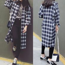 Melon Juice - Plaid Loose Fit Long Shirt