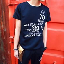 Danjieshi - Set: Lettering T-Shirt + Lettering Sweat Shorts