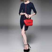 Alaroo - Embroidered Asymmetric Denim Sheath Dress