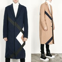 Rememberclick - Wool-Blend Contrast-Trim Long Coat
