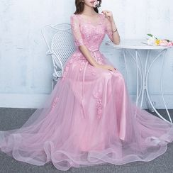 Luxury Style - Elbow-Sleeve Embroidered Evening Gown