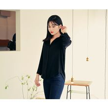 HOTPING - Slit-Sleeve Hidden-Button Blouse