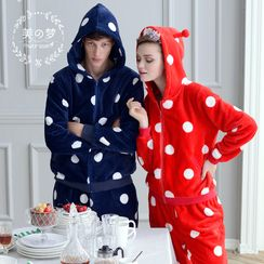 Mydream - Couple Matching Loungewear Set: Polka Dot Hooded Jacket + Pants