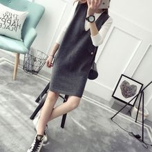 Qimi - Sleeveless V-neck Knit Dress