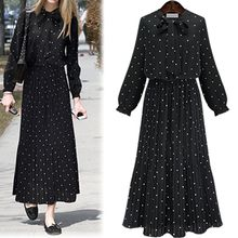 Fashion Street - Dotted Long Sleeve Maxi Dress