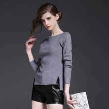 Y:Q - Plain Long-Sleeve Knit Top