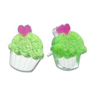 Sweet & Co. - Sweet Glitter Green Mirror Cupcake Stud Earrings