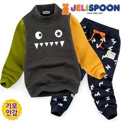JELISPOON - Set: Mock-Neck Color-Block Top + Sweat Pants