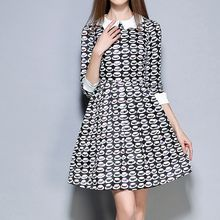 Merald - Hat Print 3/4 Sleeve Collared A-Line Dress