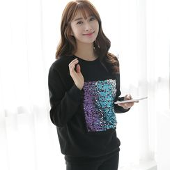 CLICK - Cotton Blend Sequined Sweatshirt