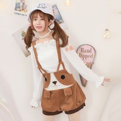 Moriville - Dog Embroidered Corduroy Suspender Shorts