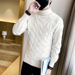 Bay Go Mall - Ribbed Turtleneck Knit Top