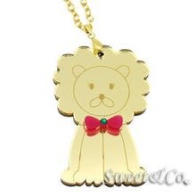 Sweet & Co. - XL Bowtie Lion Swarovski Mirror Gold Necklace