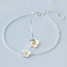 A'ROCH - 925 Sterling Silver Flower Necklace / Bracelet / Ring / Earrings
