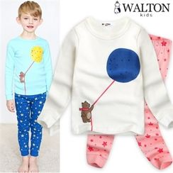 WALTON kids - Kids Pajama Set: Printed Top + Star-Pattern Pants